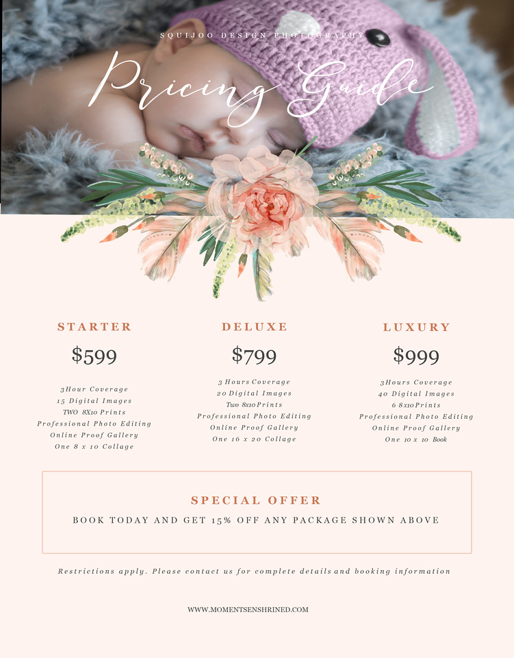 Moments Enshrined Infant Session PricingSheet
